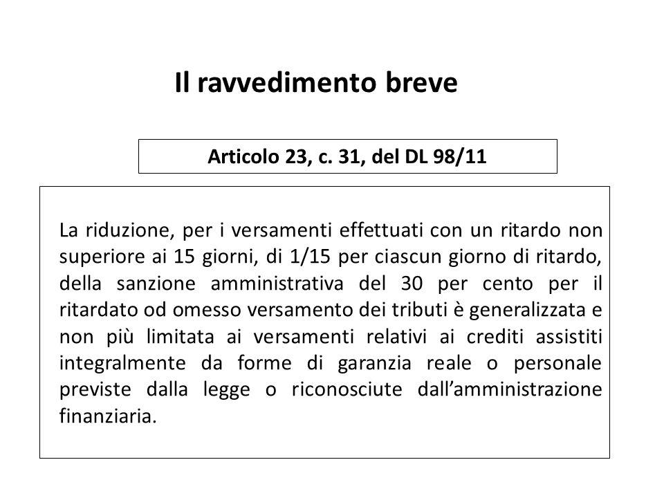 Il ravvedimento breve Articolo 23, c. 31, del DL 98/11