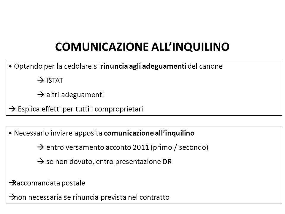 COMUNICAZIONE ALL'INQUILINO