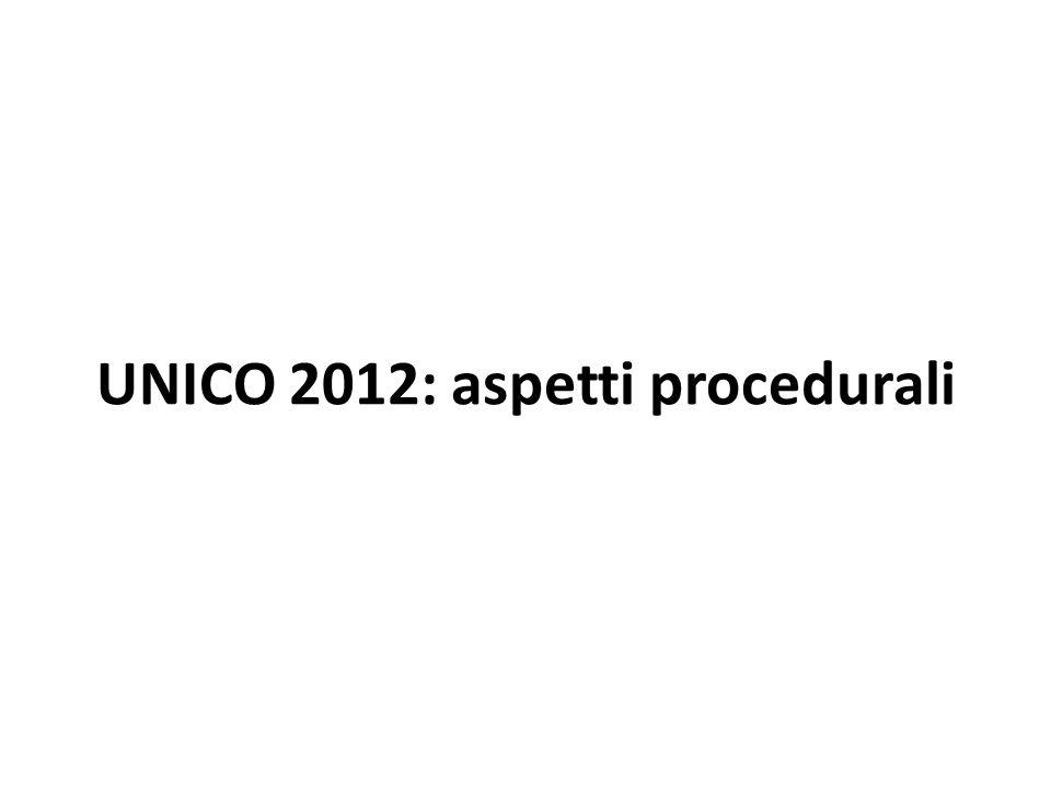 UNICO 2012: aspetti procedurali