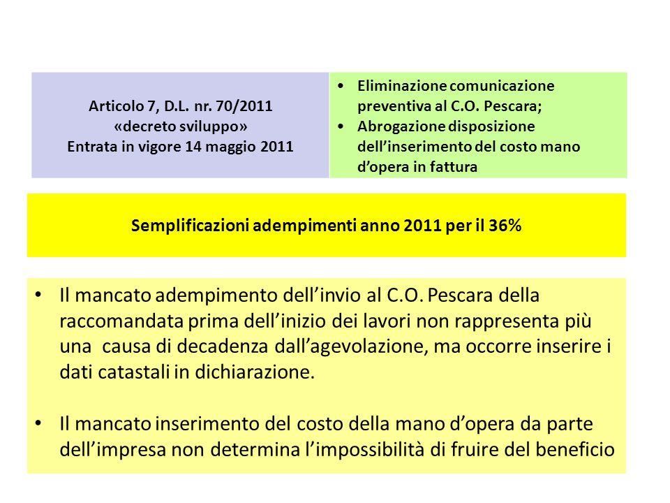 Articolo 7, D.L. nr. 70/2011 «decreto sviluppo» Entrata in vigore 14 maggio 2011. Eliminazione comunicazione preventiva al C.O. Pescara;
