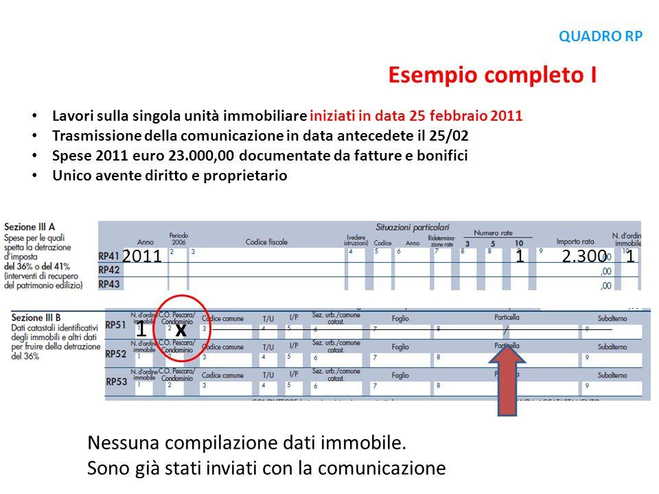 Esempio completo I 1 x Nessuna compilazione dati immobile.