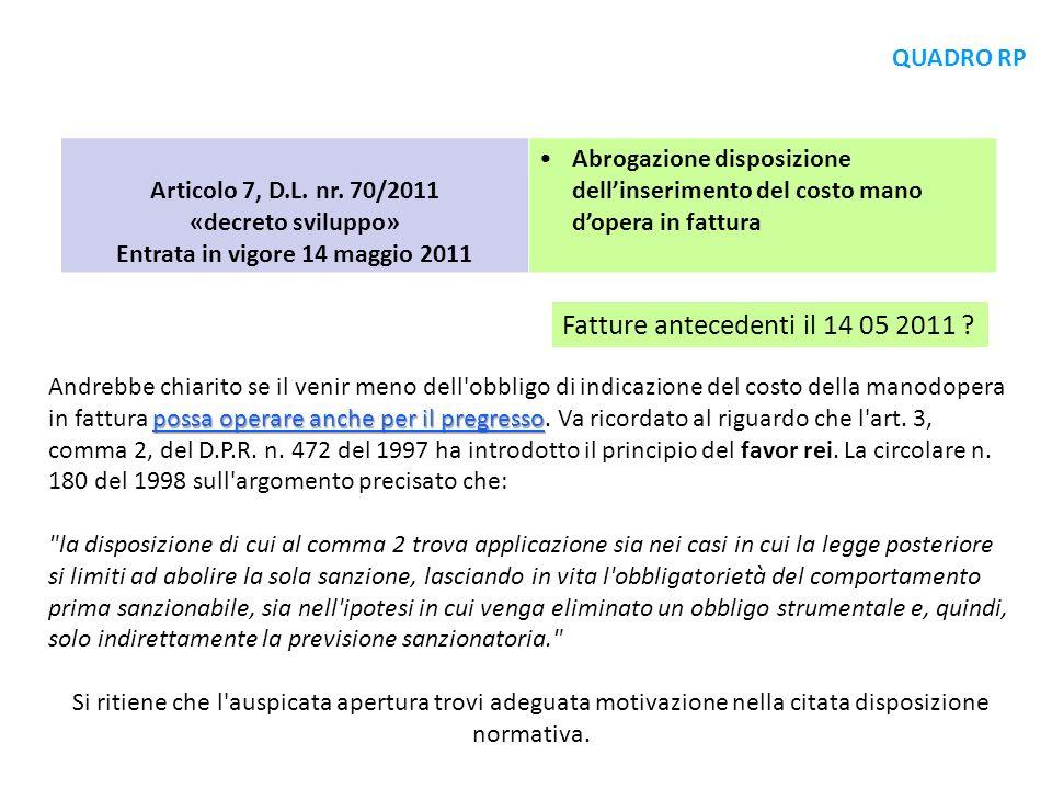 Entrata in vigore 14 maggio 2011