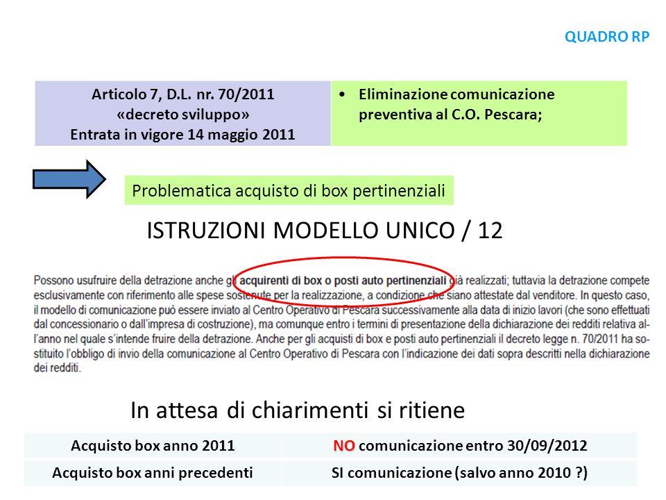 ISTRUZIONI MODELLO UNICO / 12