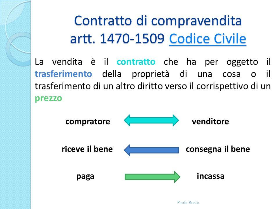 Contratto di compravendita artt. 1470-1509 Codice Civile