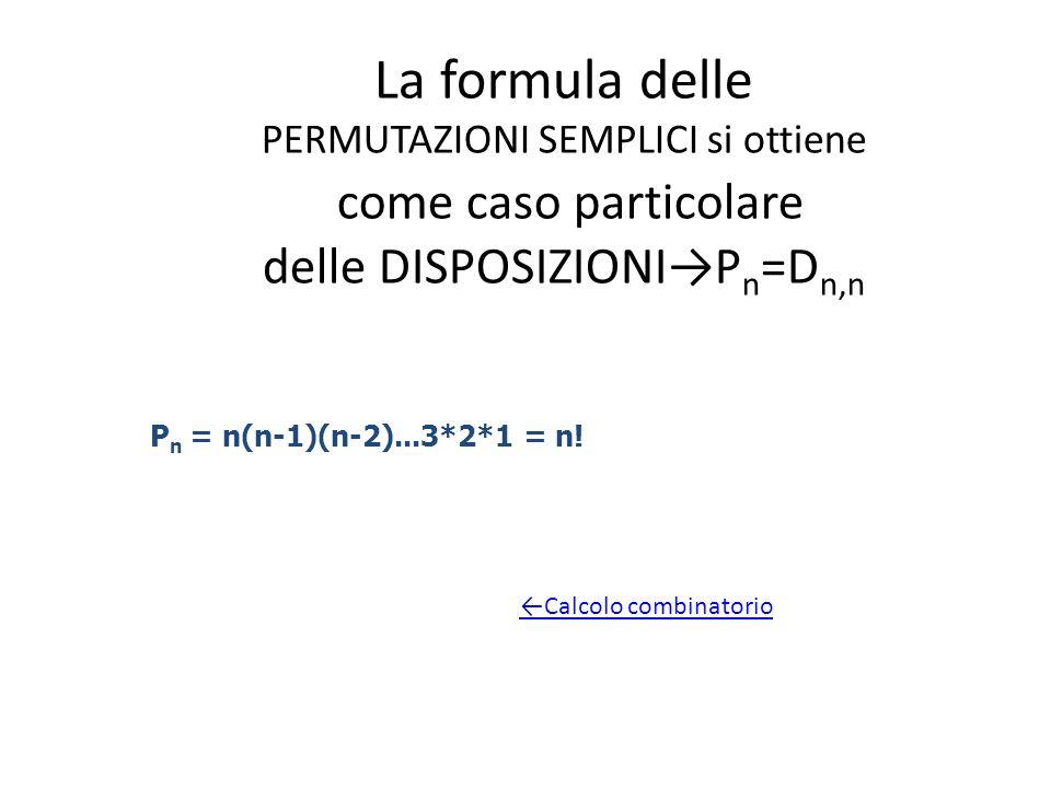 La formula delle PERMUTAZIONI SEMPLICI si ottiene come caso particolare delle DISPOSIZIONI→Pn=Dn,n