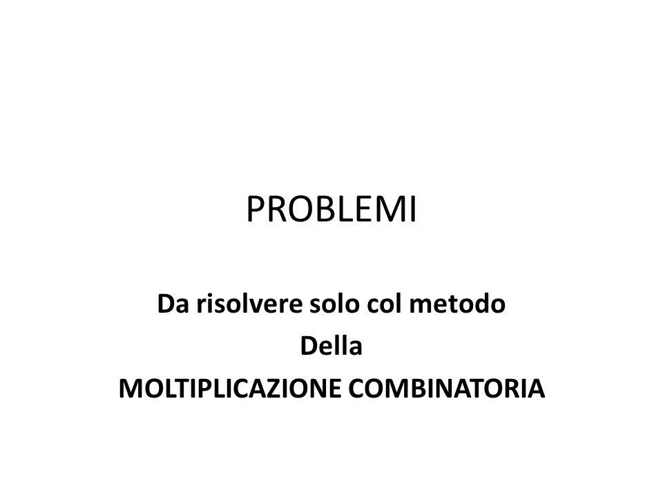 Da risolvere solo col metodo Della MOLTIPLICAZIONE COMBINATORIA