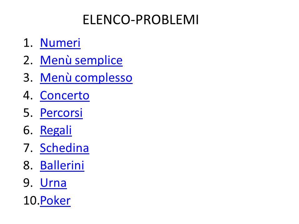 ELENCO-PROBLEMI Numeri Menù semplice Menù complesso Concerto Percorsi