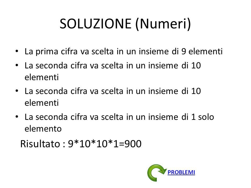 SOLUZIONE (Numeri) Risultato : 9*10*10*1=900