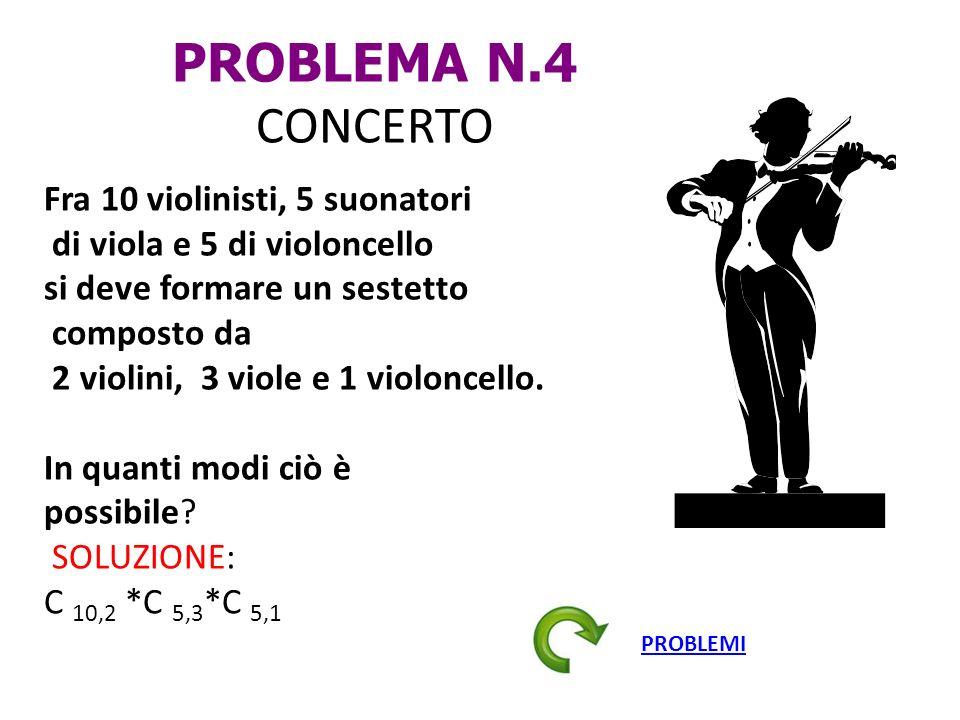 PROBLEMA N.4 CONCERTO Fra 10 violinisti, 5 suonatori