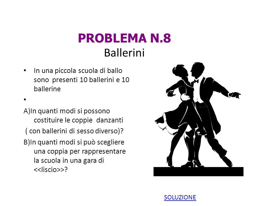 PROBLEMA N.8 Ballerini In una piccola scuola di ballo sono presenti 10 ballerini e 10 ballerine.