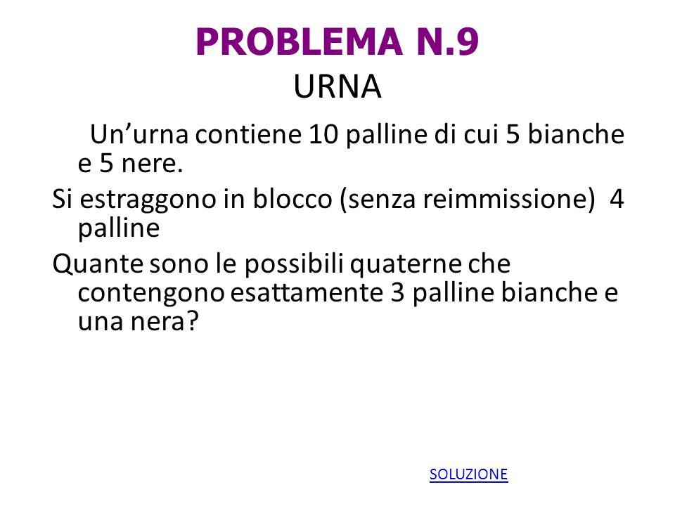 PROBLEMA N.9 URNA Un'urna contiene 10 palline di cui 5 bianche e 5 nere. Si estraggono in blocco (senza reimmissione) 4 palline.