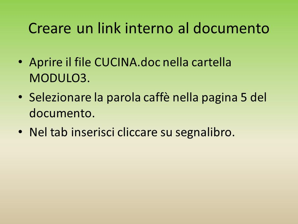 Creare un link interno al documento