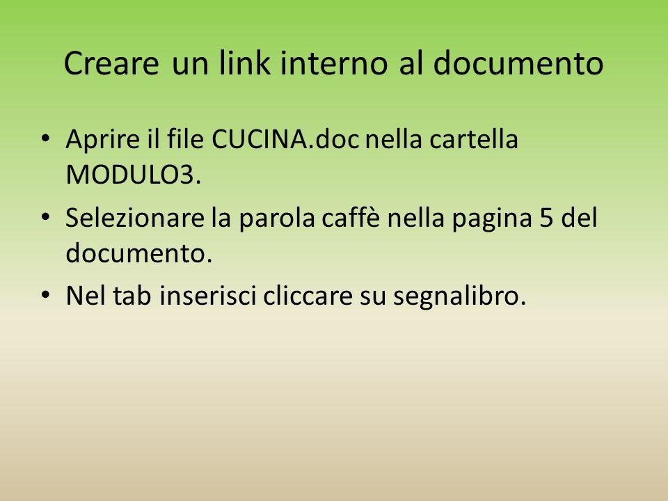 Creare un link interno al documento