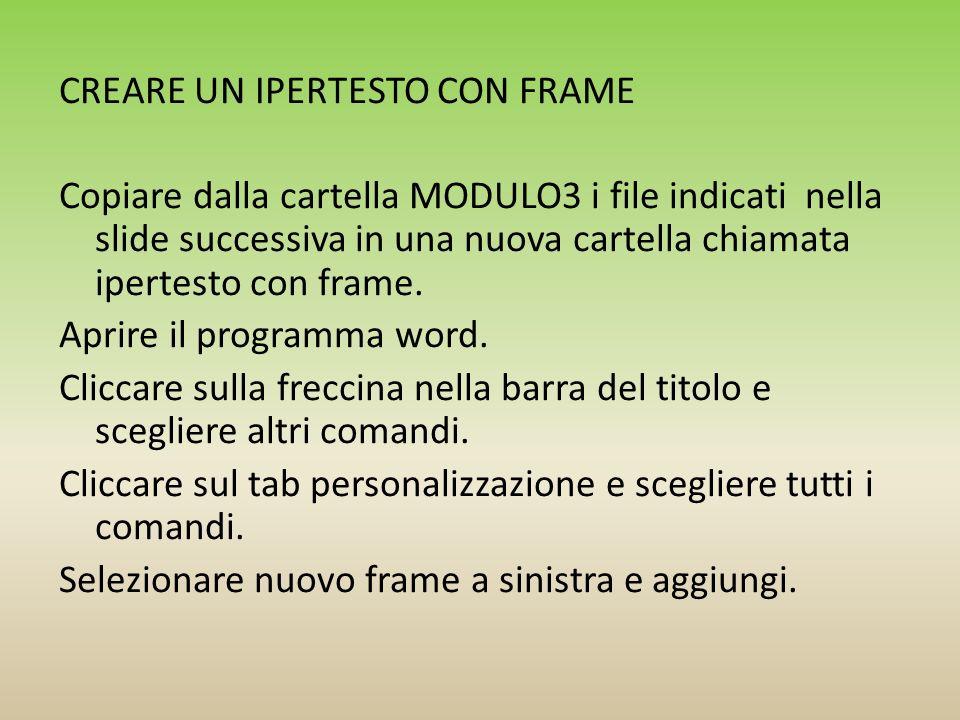 CREARE UN IPERTESTO CON FRAME Copiare dalla cartella MODULO3 i file indicati nella slide successiva in una nuova cartella chiamata ipertesto con frame.