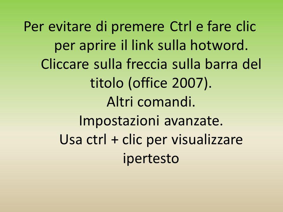 Per evitare di premere Ctrl e fare clic per aprire il link sulla hotword.