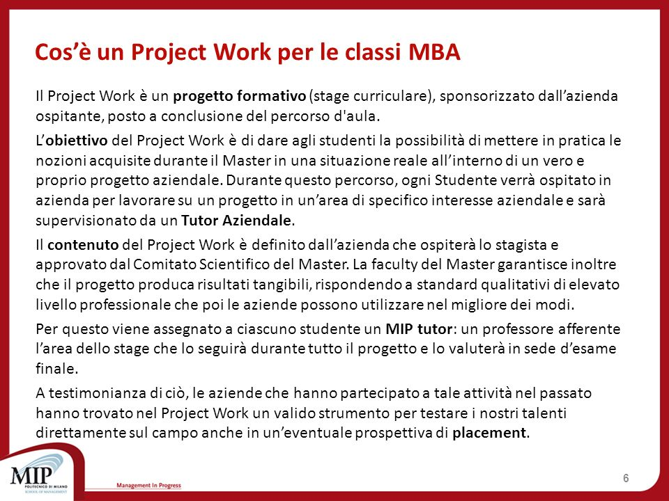 Cos'è un Project Work per le classi MBA