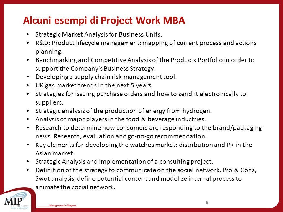 Alcuni esempi di Project Work MBA