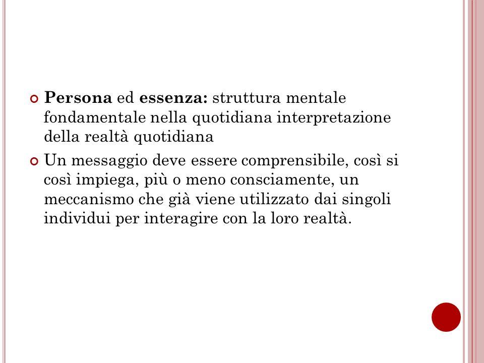 Persona ed essenza: struttura mentale fondamentale nella quotidiana interpretazione della realtà quotidiana
