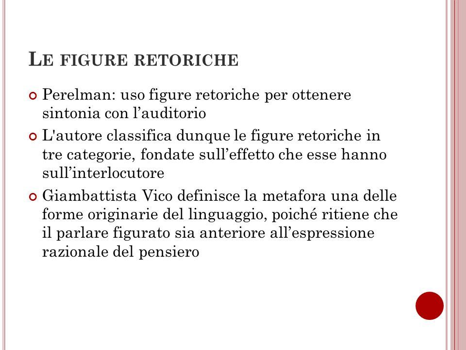 Le figure retoriche Perelman: uso figure retoriche per ottenere sintonia con l'auditorio.