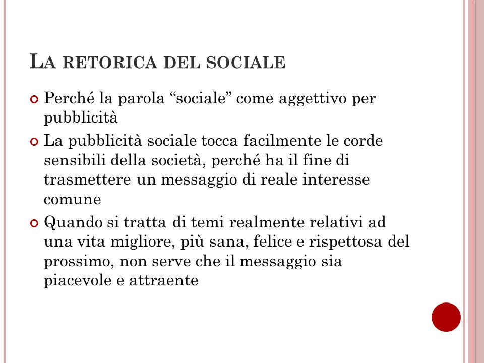 La retorica del sociale