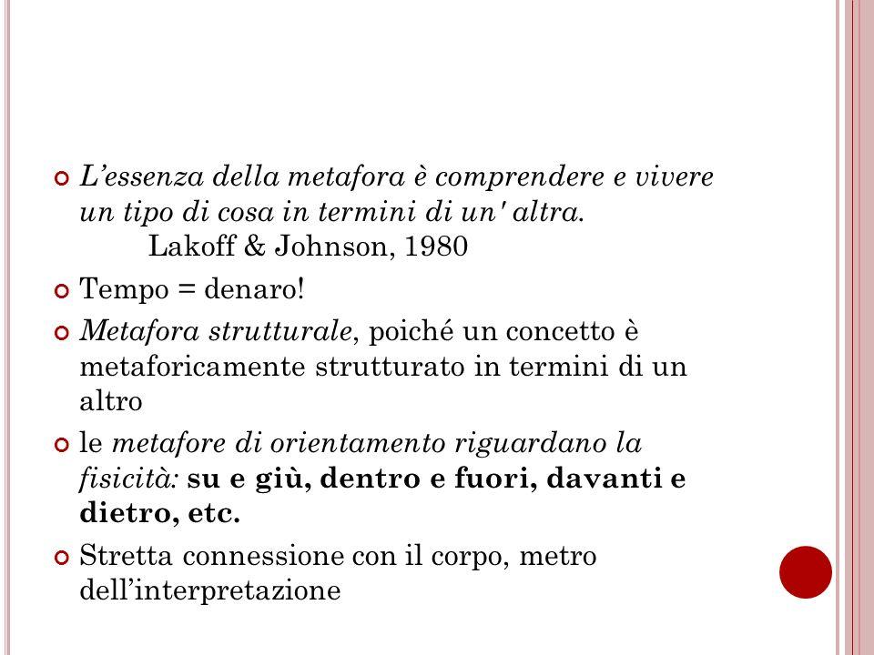 L'essenza della metafora è comprendere e vivere un tipo di cosa in termini di un altra. Lakoff & Johnson, 1980