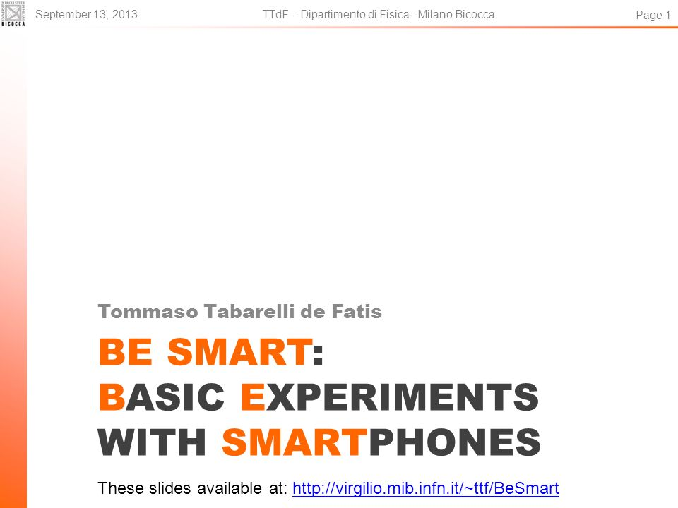 BE SMART: Basic Experiments with Smartphones