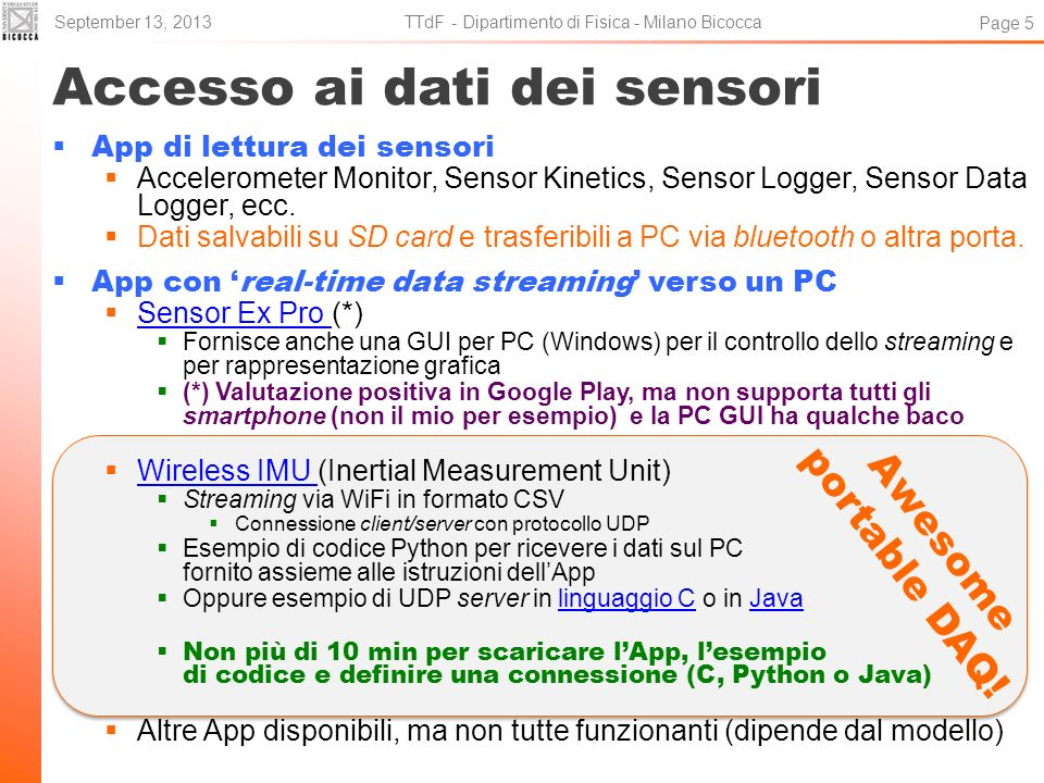 Accesso ai dati dei sensori