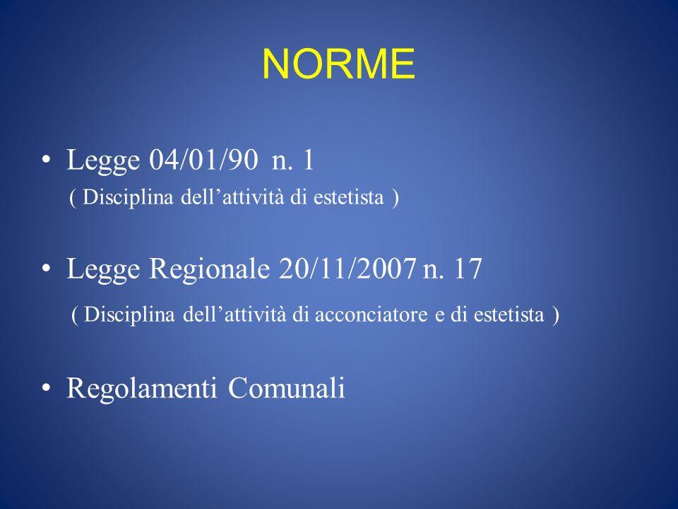NORME Legge 04/01/90 n. 1 Legge Regionale 20/11/2007 n. 17