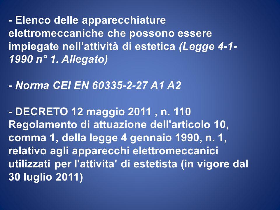 - Elenco delle apparecchiature elettromeccaniche che possono essere impiegate nell'attività di estetica (Legge 4-1-1990 n° 1.