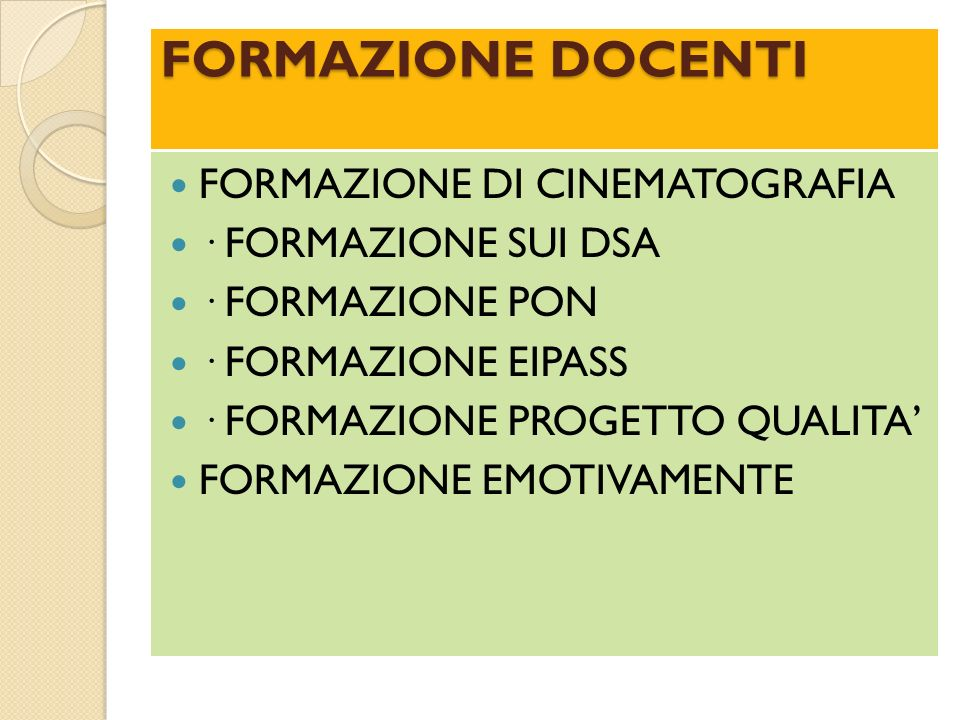 FORMAZIONE DOCENTI FORMAZIONE DI CINEMATOGRAFIA · FORMAZIONE SUI DSA
