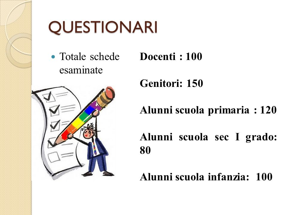 QUESTIONARI Totale schede esaminate Docenti : 100 Genitori: 150