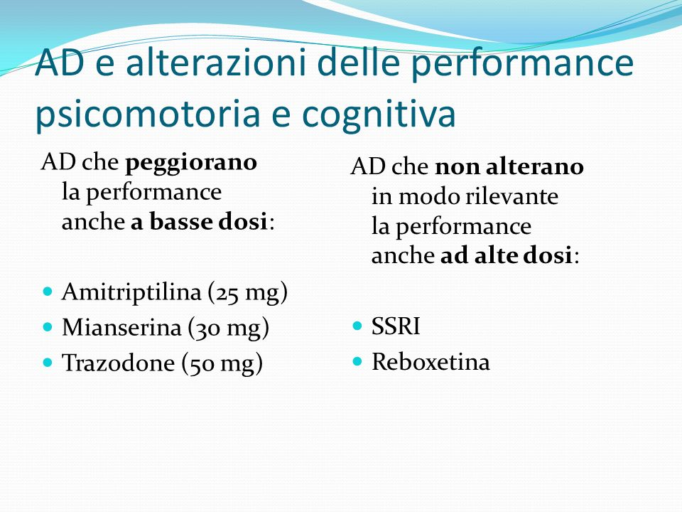 AD e alterazioni delle performance psicomotoria e cognitiva