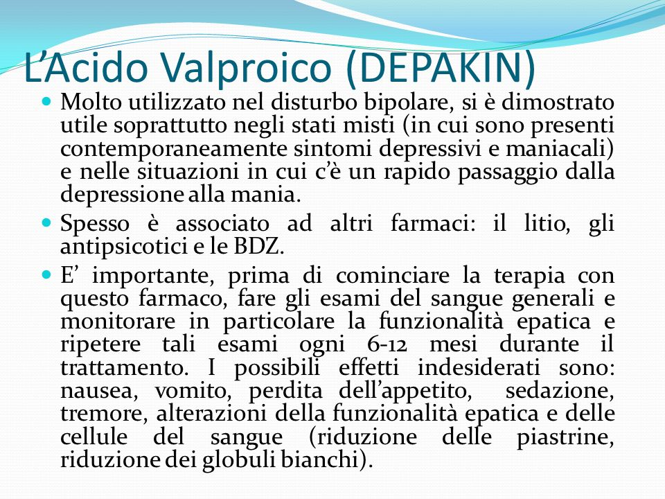 L'Acido Valproico (DEPAKIN)