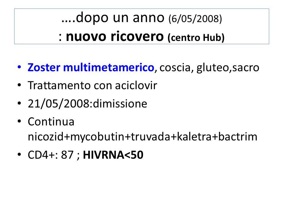 ….dopo un anno (6/05/2008) : nuovo ricovero (centro Hub)