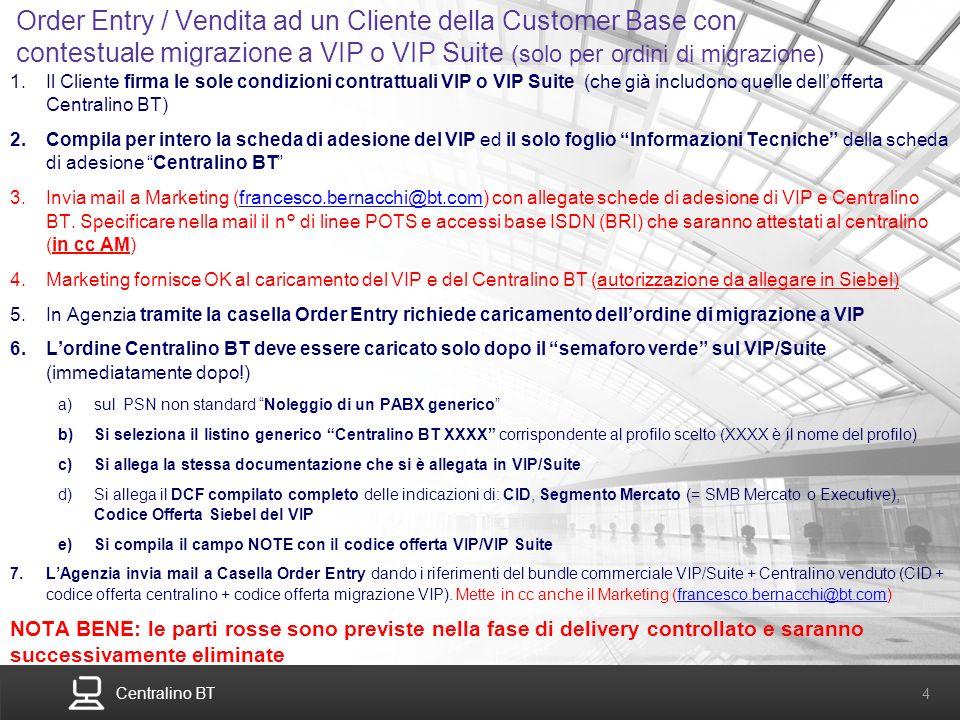Order Entry / Vendita ad un Cliente della Customer Base con contestuale migrazione a VIP o VIP Suite (solo per ordini di migrazione)