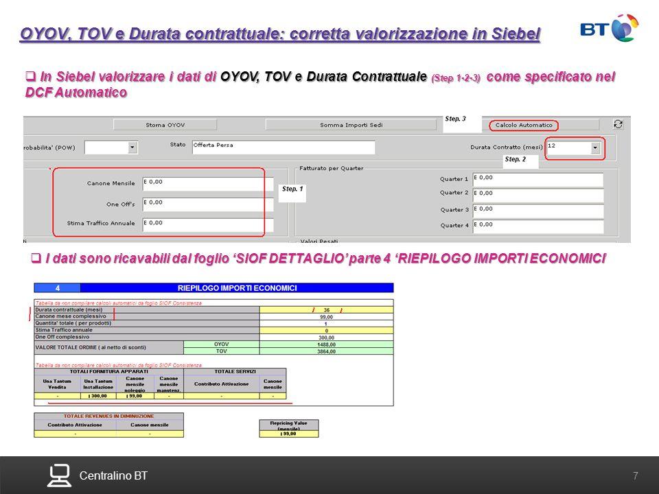 OYOV, TOV e Durata contrattuale: corretta valorizzazione in Siebel