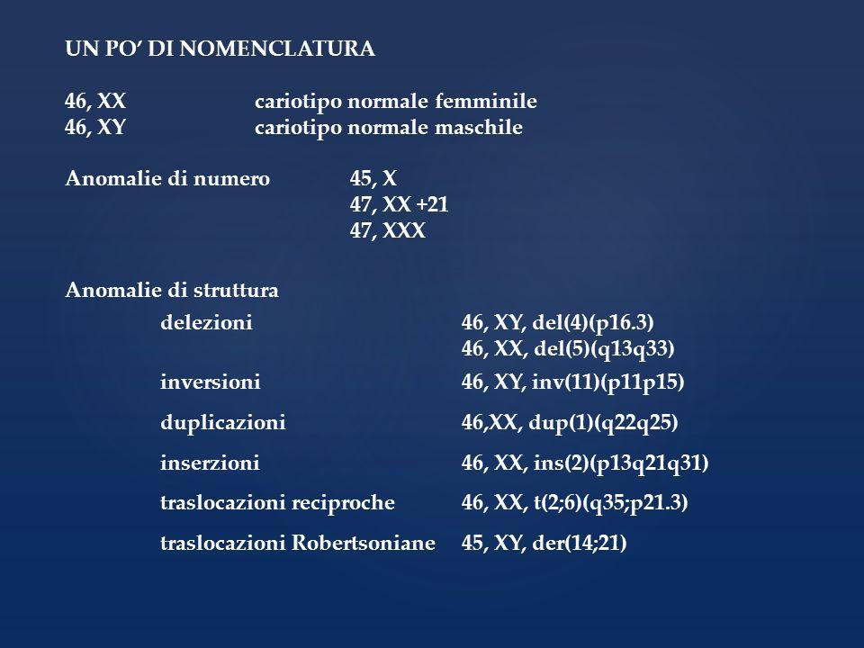 UN PO' DI NOMENCLATURA 46, XX cariotipo normale femminile. 46, XY cariotipo normale maschile. Anomalie di numero 45, X.