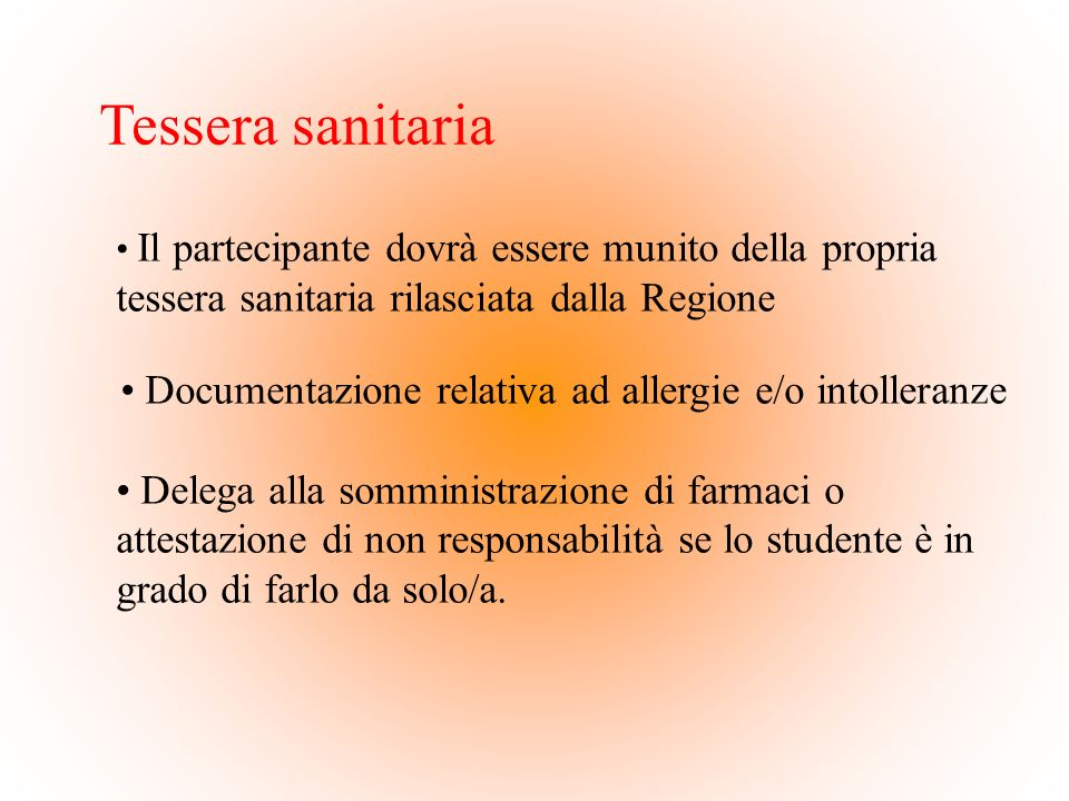 Documentazione relativa ad allergie e/o intolleranze
