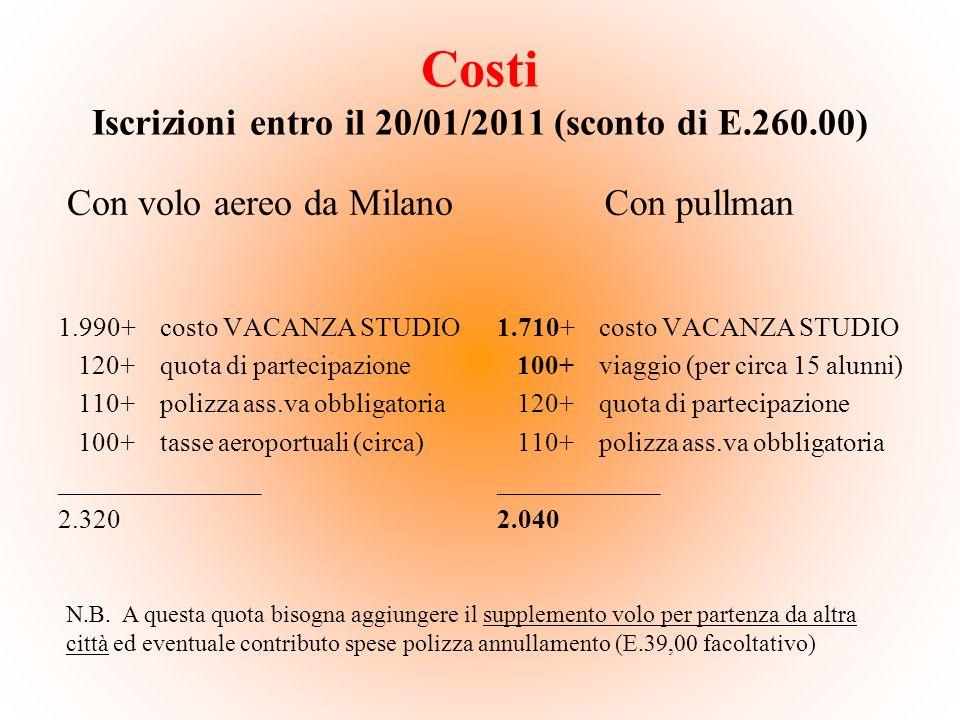 Costi Iscrizioni entro il 20/01/2011 (sconto di E.260.00)