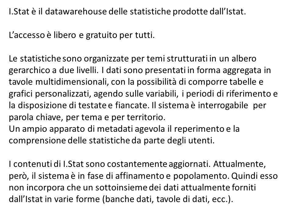 I. Stat è il datawarehouse delle statistiche prodotte dall'Istat