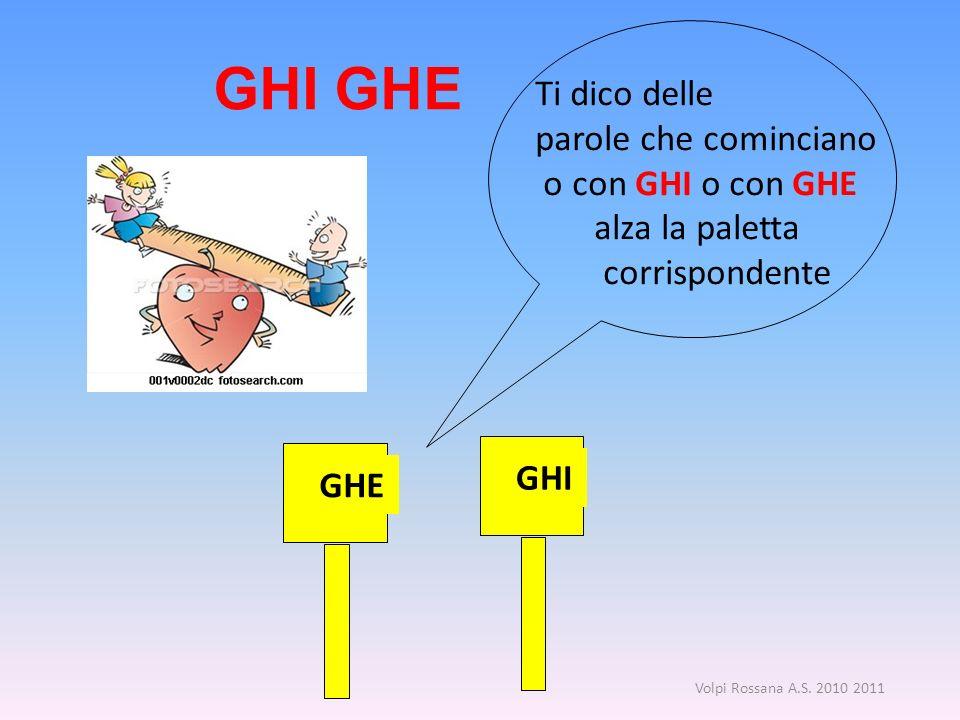 GHI GHE Ti dico delle parole che cominciano o con GHI o con GHE