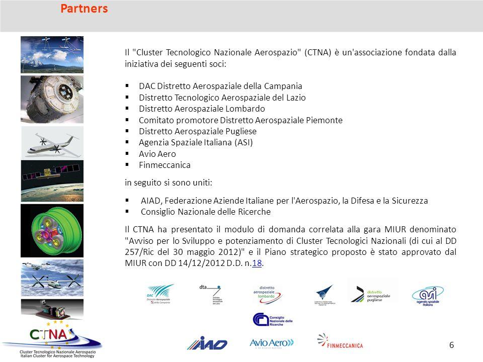 Partners Il Cluster Tecnologico Nazionale Aerospazio (CTNA) è un associazione fondata dalla iniziativa dei seguenti soci: