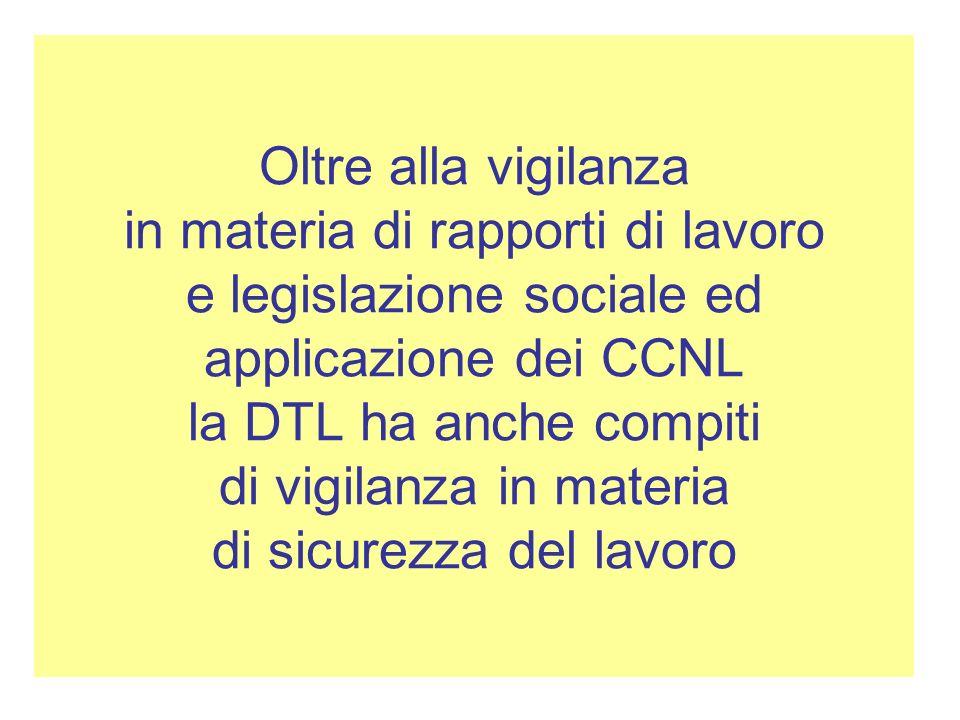 Oltre alla vigilanza in materia di rapporti di lavoro e legislazione sociale ed applicazione dei CCNL la DTL ha anche compiti di vigilanza in materia di sicurezza del lavoro