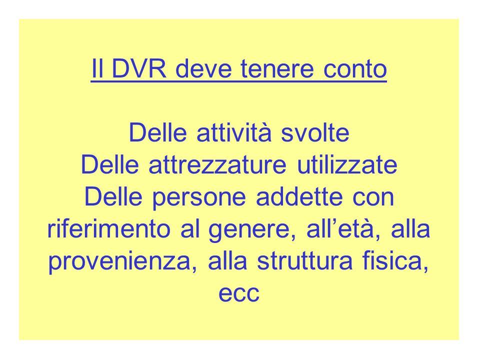 Il DVR deve tenere conto Delle attività svolte Delle attrezzature utilizzate Delle persone addette con riferimento al genere, all'età, alla provenienza, alla struttura fisica, ecc