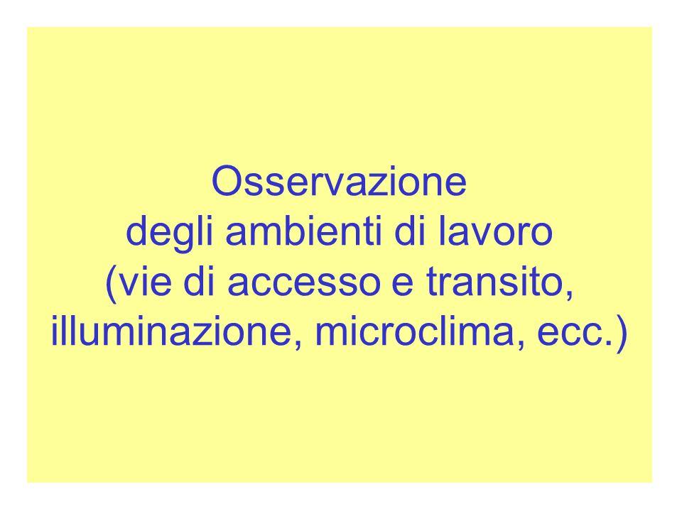 Osservazione degli ambienti di lavoro (vie di accesso e transito, illuminazione, microclima, ecc.)