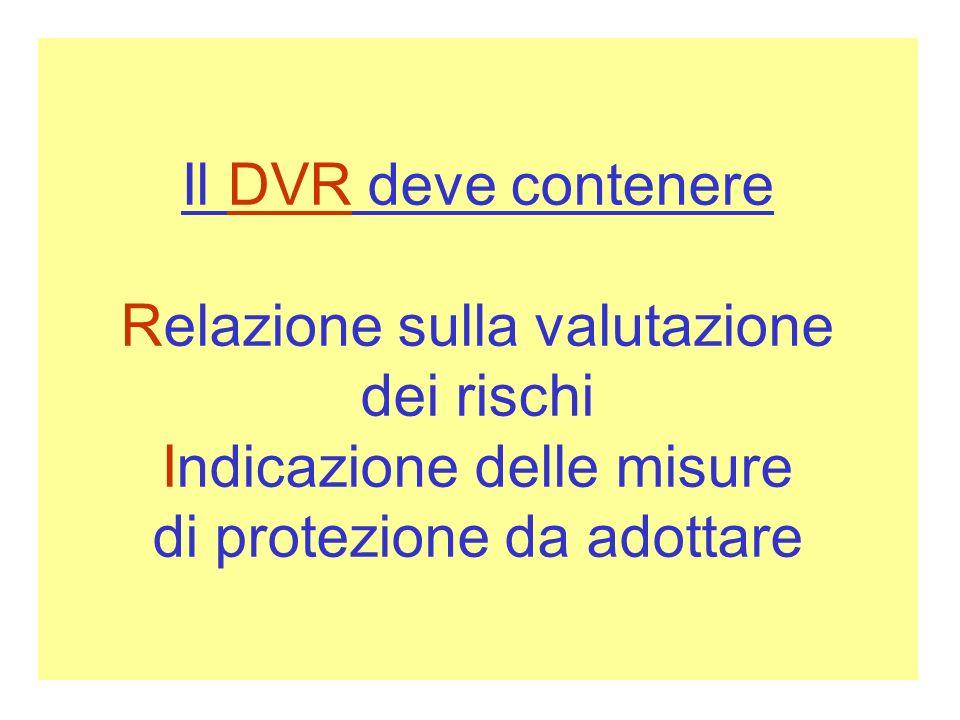 Il DVR deve contenere Relazione sulla valutazione dei rischi Indicazione delle misure di protezione da adottare
