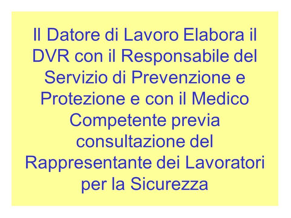 Il Datore di Lavoro Elabora il DVR con il Responsabile del Servizio di Prevenzione e Protezione e con il Medico Competente previa consultazione del Rappresentante dei Lavoratori per la Sicurezza