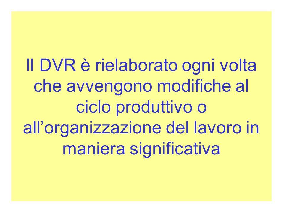 Il DVR è rielaborato ogni volta che avvengono modifiche al ciclo produttivo o all'organizzazione del lavoro in maniera significativa