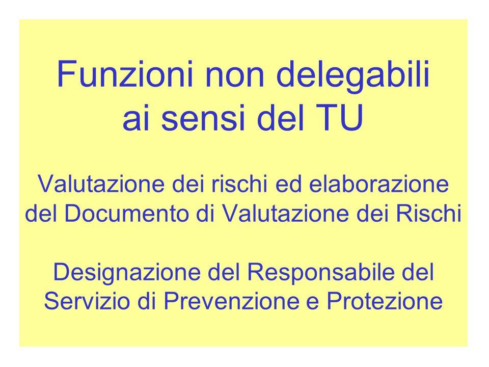 Funzioni non delegabili ai sensi del TU Valutazione dei rischi ed elaborazione del Documento di Valutazione dei Rischi Designazione del Responsabile del Servizio di Prevenzione e Protezione