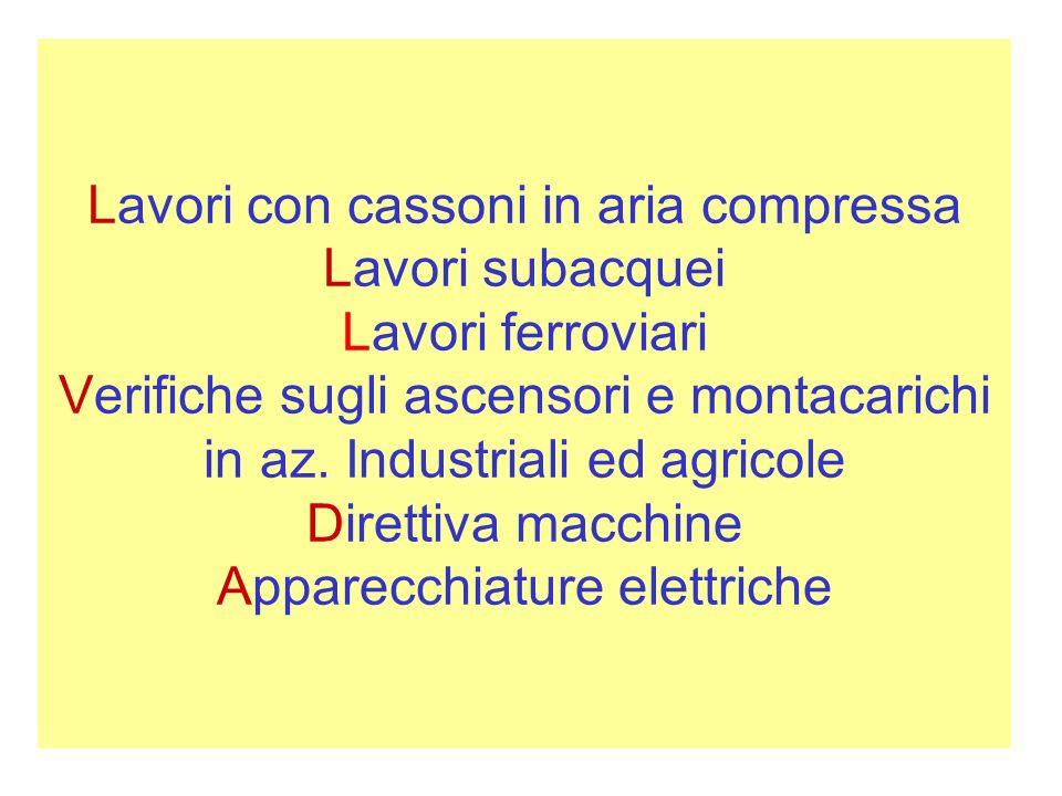 Lavori con cassoni in aria compressa Lavori subacquei Lavori ferroviari Verifiche sugli ascensori e montacarichi in az.